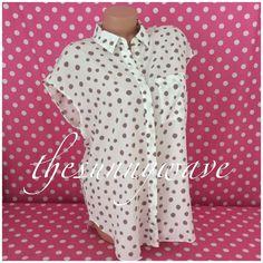 Ann Taylor Polka Dot Sleeveless Sheer Button Down Collar Blouse Shirt Top M NWT #AnnTaylor #Blouse #Casual