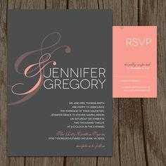Peach & Sign Modern Wedding Invitation and RSVP (DIY / PRINTABLE). $34.00, via Etsy.