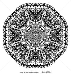 indian mandala traditional henna painting - stock vector