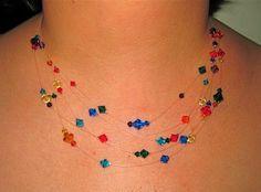 The Floating Bead Necklace - crimp method #Beading #Jewelry #Tutorial
