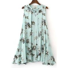 Light Blue Floral Print V Neck Sleeveless Chic Dress ($22) ❤ liked on Polyvore featuring dresses, floral print dress, v neck dress, holiday dresses, green holiday dress and green evening dresses