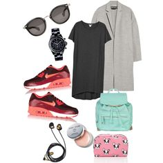 A fashion look from November 2014 featuring tee dress, wool coat and mesh sneakers. Browse and shop related looks. Tee Dress, Wool Coat, Android, Fashion Looks, App, Running, Tees, Polyvore, Shopping