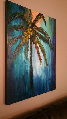 "Palm Tree At Dusk 30"" Wide x 40"" High x 11/2 Thick Palette Knife Original textured Oil Painting Hand Signed Oil on Canvas One of a Kind by OilsBySuePeterson on Etsy"