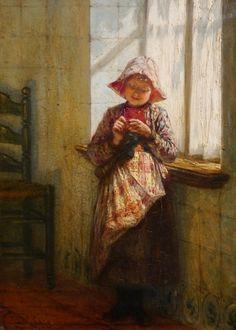 Knitting girl, Netherlands. Zuiderzeemuseum Enkhuizen.