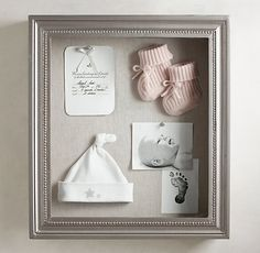 Antiqued Wood Shadow-Box – Pewter RH Baby & Child's Antiqued Pewter Wood Shadow Box:Our handcrafted shadow boxes display cherished heirlooms and small treasures to elegant effect. Finished in antiqued pewter or gilt for old-world appeal. Shadow Box Baby, Wood Shadow Box, Newborn Shadow Box, Shadow Shadow, Foto Baby, Baby Memories, Memories Box, Everything Baby, Baby Time