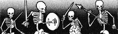 Animated skeletons often lurk near graveyards, dungeons, or other deserted places. (From the Moldvay D&D Basic Rulebook, TSR, 1981.)