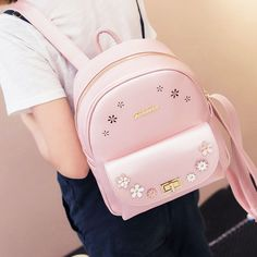 Cute Girl School Rucksack Hollow Flowers Lady Backpack
