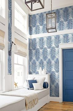 Paradise Wallpaper in Coastal Blue from the Beach House Collection - Home Professional Decoration Beach Cottage Style, Beach Cottage Decor, Coastal Cottage, Coastal Style, Modern Coastal, Chic Beach House, Dream Beach Houses, Blue Home Decor, Coastal Homes