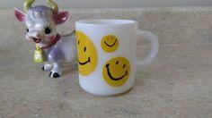 Hazel Atlas Mid Century Yellow Smiley Milk Glass Mug Collectible by MyPurpleCowLuvsMilk on Etsy