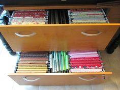 BRILLIANT idea!! organizing fabric using hanging files! Sew Many Ways...: Organizing Fabric...Filing Update