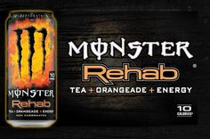 Found my new favorite Monster drink. Tea+Orangeade Rehab. Low calories, non-carbonated, and loaded with all kinds of unnatural goodies to keep me going through the day. It's my coffee (since I don't drink the java stuff).