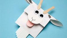 """""""Paper Baaa-g Goat Puppet"""" with printable pattern may be used as a narrator or character in Readers Theater scripts. For free trustworthy Readers Theater scripts see www.ReadersTheaterAllYear.com"""
