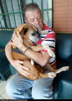 Owner Hugs Lost Dog - so sweet!