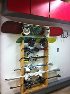 storing skis and snowboards on wall - Google Search