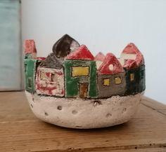 Windlicht Keramik Kerzenständer Adventslicht Häuser aus Keramik