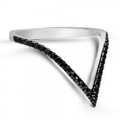 Gümüş Yüzük - Siyah taşlı beyaz altın kaplama valentine model yüzük