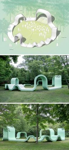 Greg Corso and Molly Hunker of design firm SPORTS, have created a fun and whimsical outdoor performance pavilion in the community of Lake Forest, Illinois. natural playground ideas A Whimsical Outdoor Pavilion Graces An Artist Colony In Illinois Urban Furniture, Street Furniture, Furniture Stores, Furniture Online, Poket Park, Design D'espace Public, Kindergarten Architecture, Pavillion, Playground Design