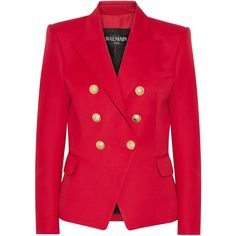 Balmain Double-breasted wool blazer (48 295 UAH) ❤ liked on Polyvore featuring outerwear, jackets, blazers, red, tailored blazer, balmain jacket, red wool blazer, blazer jacket and gold button blazer