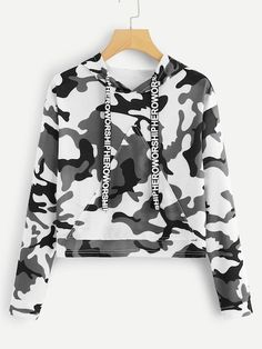 To find out about the Letter Tape Camo Print Hooded Sweatshirt at SHEIN, part of our latest Sweatshirts ready to shop online today! Teenage Outfits, Teen Fashion Outfits, Girl Outfits, Women's Fashion, Fashion Styles, Fashion Clothes, Camo Fashion, Fashion Black, Cheap Fashion