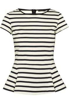 Theory | Panna striped cotton-jersey peplum top | NET-A-PORTER.COM