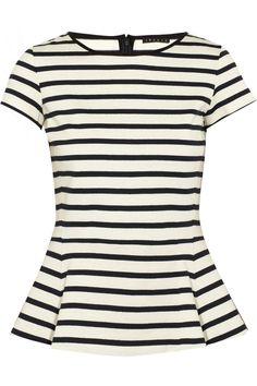 Theory|Panna striped cotton-jersey peplum top|NET-A-PORTER.COM