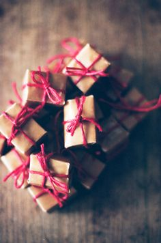 Brown paper tied up with string - festive red string