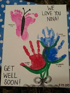 Get Well Soon hand/footprint art - 2013 - butterfly & flowers