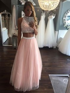 Two Pieces A Line Beading Tulle Long Prom Dresses Cheap Pink Evening Dress A-Line Evening Dresses Prom Dresses Long Prom Dress Prom Dresses Two Piece Prom Dresses Cheap Prom Dresses 2020 Prom Dresses Long Pink, Open Back Prom Dresses, Pretty Prom Dresses, Cheap Prom Dresses, Homecoming Dresses, Dress Long, Prom Gowns, Party Dresses, Dress Prom