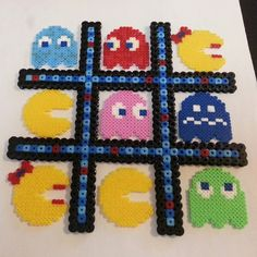 Pacman tic tac toe perler beads by mrs_althea