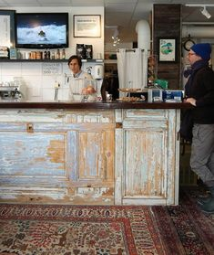 Love this for the counter! It's a salvaged door!