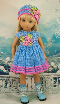"Outfit for dolls Dianna Effner "" Daisy "" by 'Bonny Kate'. With Love, Bonny Kate. American Doll Clothes, Girl Doll Clothes, Girl Dolls, Baby Dolls, Crochet Doll Dress, Knitted Dolls, Diy Doll Purse, Crochet Dragon, Sasha Doll"