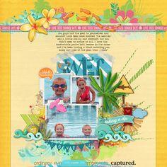 Such a fun, bright #summer #scrapbook page by jesshunt using a #LayerWorks #shopDesignerDigitals
