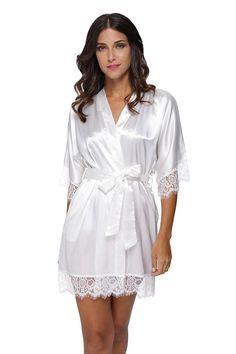 d2ac973905 Women s Sexy Satin Short Kimono Robe-Lace Trim - White - C412JWH8LSV