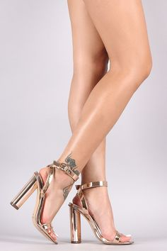 Metallic Chunky Open Toe Heels