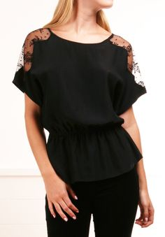 black blouse with lace panels