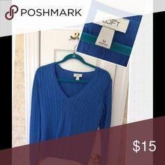 Ann Taylor Loft cable knit v neck sweater Royal blue Ann Taylor Loft cable knit v neck sweater.  Never worn Ann Taylor Sweaters V-Necks