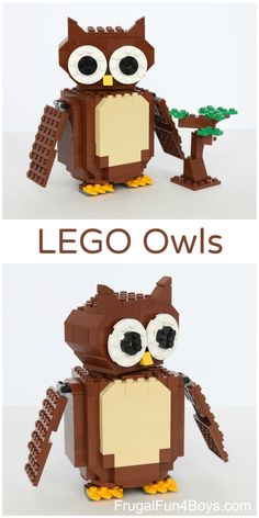 LEGO Owl Building Instructions - The owl turns his head all the way around when you turn a knob on his back.  Engineering challenge for kids, plus play!