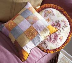 Scraps and Such ~ Pillows are the perfect way to use leftovers of favorite fabrics; then they have a quilt-like look whatever the fabric.
