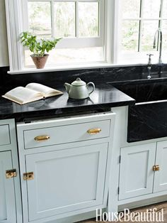 This Miele dishwasher has a cabinet front, so it doesn't break up the line of cabinetry under the counter.