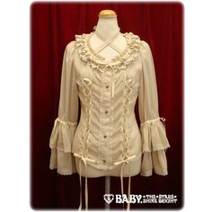 Juliette Blouse (108P432) ❤ liked on Polyvore featuring tops, blouses, lolita, alice and the pirates, ivory, ivory blouse, pirate blouse, pirate top, brown tops and ivory top