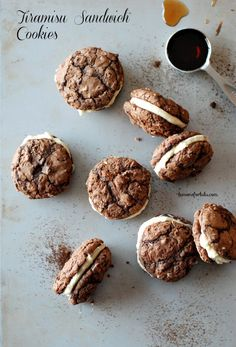 """""""Tiramisu Cookies"""" Espresso chocolate cookies held together with a Kahlua and mascarpone filling