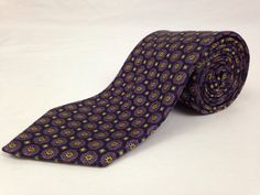 BROOKS BROTHERS 59L Mens Neck Tie 346 Blue Purple Flower Geometric 100% Silk USA #BrooksBrothers #Ties #NeckTies