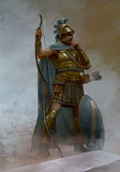This is the great hero Odysseus. Odysseus is very similar to Achilles in the fact that he is both a great warrior and went on a long journey. This artwork is by Stefan Kopinski. Fantasy Warrior, Greek Warrior, Fantasy Rpg, Medieval Fantasy, Character Inspiration, Character Art, Character Design, Alexandre Le Grand, Ancient Armor
