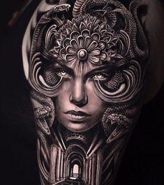 Scary Tattoos, 3d Tattoos, Body Art Tattoos, Tattoos For Guys, Full Hand Tattoo, Full Back Tattoos, Feminine Tattoo Sleeves, Feminine Tattoos, Guerrero Tattoo