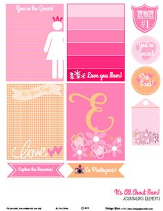 Free Its All About Mom Journal Cards and Labels from Vintage Glam Studio