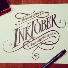 Inktober starts next week! Thirty-one days, thirty-one ink drawings. If you're going to take on the challenge, hashtag your posts with Can't wait to see what everyone does this year! - OH BOY! So glad I found this. Going to watch! Graphic Design Typography, Lettering Design, Hand Lettering, Logo Design, Design Set, Handwritten Letters, Calligraphy Letters, Caligraphy, Funky Fonts
