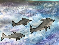 Learn how to paint dolphins in a beautiful ocean scene using water colours. Learn water colour techniques of wet on wet and adding salt for cool effects. Summer Art Activities, Dolphin Painting, Ocean Scenes, Beautiful Ocean, Art Lessons Elementary, Painting Videos, Watercolor Techniques, Learn To Paint, Dolphins