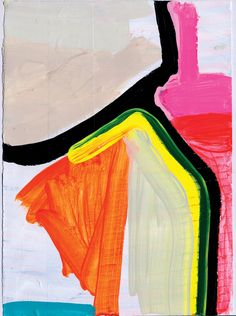 """ABSTRACT PAINTING PINK, ORANGE & RED NY15#06  15"""" x 11"""", 38cm x 28cm mixed media on paper signed & dated on the back Painted on 180lb, acid free, hot press, paper.   I'm not sure what's going on with this new work. These are quick sketches of rich color & luxurious paint. Diving into something new & no clue where it's going. ...MADE BY JENNIFER SANCHEZ"""