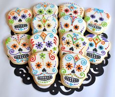 Day of the Dead Sugar Skull Cookies by KelleyHartCookies on Etsy https://www.etsy.com/listing/204496547/day-of-the-dead-sugar-skull-cookies