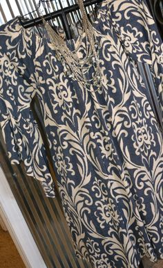 BAROQUE PRINT BELL SLEEVE DRESS